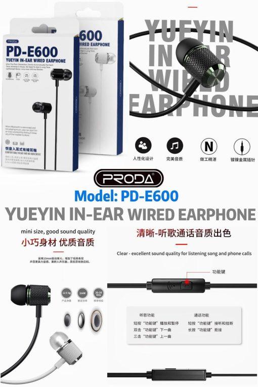 proda-e600-music-earpiece-good-sound-quality-black-white-9-50-6month-warranty